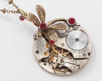 Dragonfly Necklace, Steampunk Jewelry with Vintage Waltham Pocket Watch and Ruby Red Swarovski Crystal set in Gears on Gold Beaded Chain