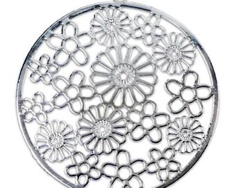 Filigree Findings for Earrings Pendant Rhodium Plated 52x56mm