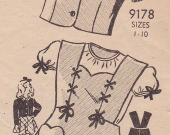 RARE 1940s 1950s Marian Martin 9178 Girl's Jumper Dress and Jacket Vintage Sewing Pattern, Size 6, Breast 24, Complete