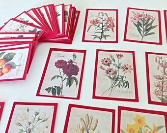 "48 mini flower cards vintage inspired 2.4"" x 1.6"", red cards, floral cards, gift tags, note cards, vintage cards"