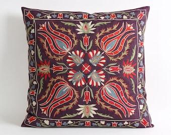 uzbek suzani pillow cover, pillow, suzani pillow, suzani cushion, suzani embroidery pillow