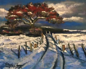Country Road Winter Landscape Pastel Painting by Wendy Johnston