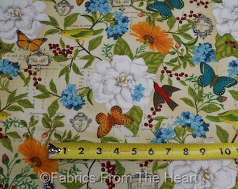 Monarch Butterflys Summer Garden Flower BY YARDS Timeless Treasure Cotton Fabric