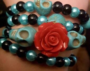 Skull, Skull bracelet, Day of the dead, Dia de los muertos, Skull jewelry, MsFormaldehyde