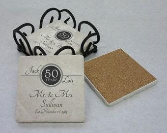 50th Anniversary Gift, Tumbled Stone Coasters, 25th Anniversary, 50th Anniversary, Silver Anniversary, Gold Anniversary