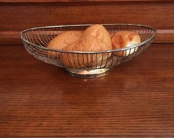 Silver Plate Bread Basket, Oblong, Wire Shaped, Leonards Silver Plate, [F]