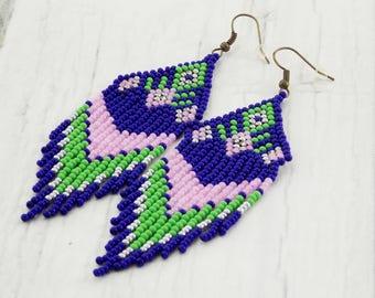 Party outfit earrings for girlfriend bead fringe earrings with tassel  blue earrings stylish earrings boho earrings native style jewelry