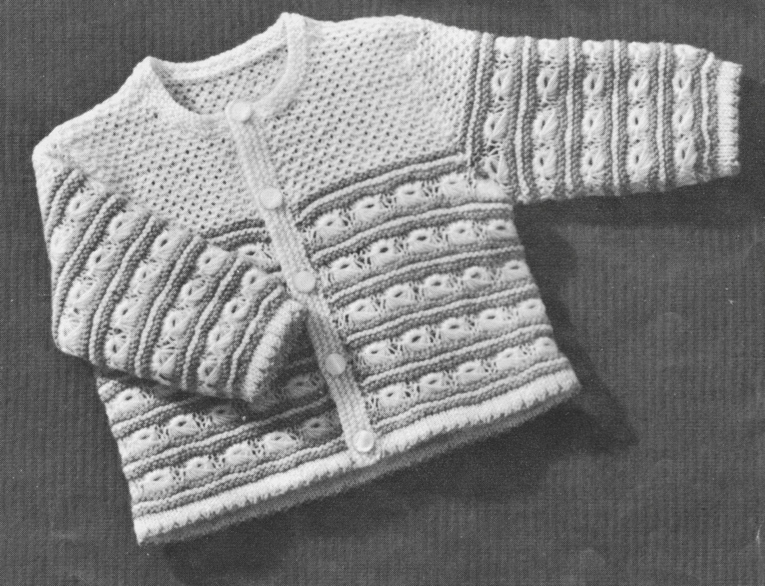 394 Vintage 1940\'s Baby Sweater Knitting Pattern, Baby\'s Cardigan ...