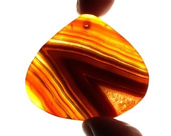 Unique orange druzy geode agate pendant (EA487)