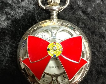 One of a Kind Sailor Moon Anime inspired silver tone quartz pocket watch FREE SHIPPING