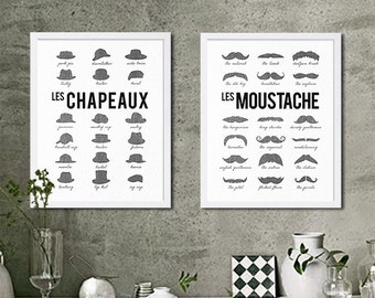 Two Modern Art Prints Pop Art Hipster Prints Home Decor Hats Mustache Print Interior Design Cool Posters Birthday Gift for Him Industrial