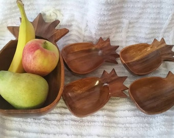 Vintage Wooden Pineapple Salad Set, TIKI kitchen and Home, Fruit bowl, Hawaiiana.