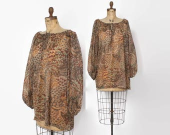 Vintage 70s Sheer Dress / 1970s Novelty FEATHER Print Loose Fit Bohemian Tunic Mini Dress