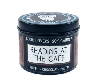 Reading at the Cafe - 4 oz Book Lovers' Soy Candle -  Book Lover Gift - Scented Soy Candle - Frostbeard Studio