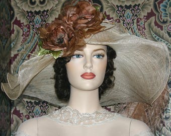 Beige & Brown Kentucky Derby Hat, Ascot Hat,  Edwardian Tea Party Hat, Titanic Hat, Somewhere Time Hat ONE of a KIND - Lady Latte