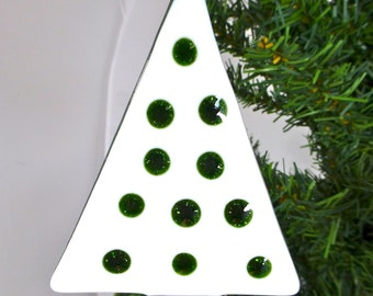 Fused Glass Snow White Christmas Tree with Sparkly Green Accents for festive decoration