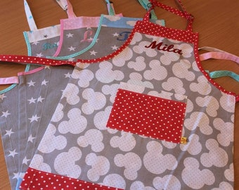 Apron for children,   Apron for cooking with the child's name, different colors available