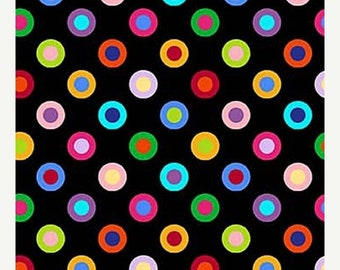 20% off thru Apr 24th COLORWORKS CONCEPTS Northcott by the HALF yard cotton quilt fabric multicolor rainbow circle dots on black 20796-99