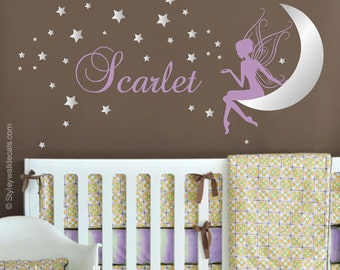 Fairy Wall Decal, Fairy Moon and Stars Wall Decal, Fairy Wall Sticker with Moon and Stars, Fairy Sticker for Girls Room Baby Nursery