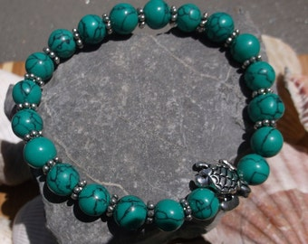 Stretch Bracelet, Turquoise Green Howlite, Turtle Charm, Ladies Stretch Bracelet