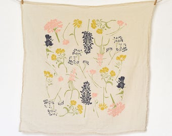 Southern Region Wildflowers Towel : Flour Sack Kitchen Tea Towel