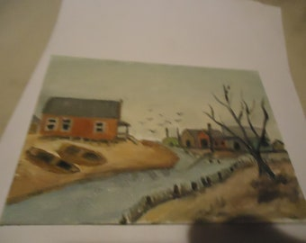 """Vintage Painting Of Town With River Flowing Through It On Plyex Canvas Foundation Board, 5"""" x 7"""", collectable"""
