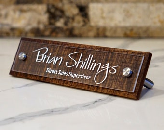 Rustic Desk Name Plate Personalized with your name and title 2.5 x 10 inches