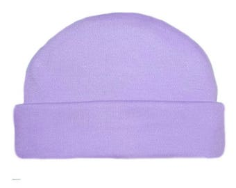 Lavender Capped Baby Hat. 100% Cotton Knit. Double Thick with a Built in Cap to Stay on Baby's Head. Preemie, Newborn Sizes to 6 Months