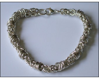Revolving Byzantine Chain Maille Bracelet in Argentium Sterling Silver
