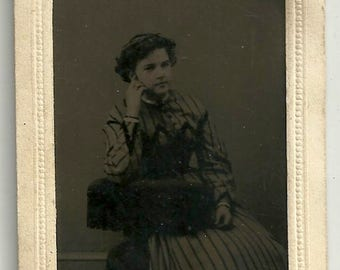 Young girl tintype striped dress chair curly hair teen victorian vintage photo