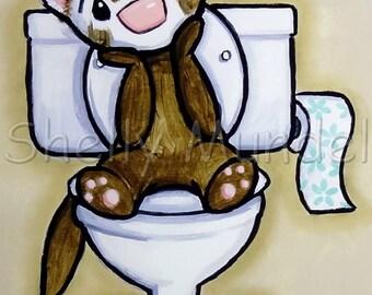 Potty Painting - Thinking - Ferret Art Print - by Shelly Mundel