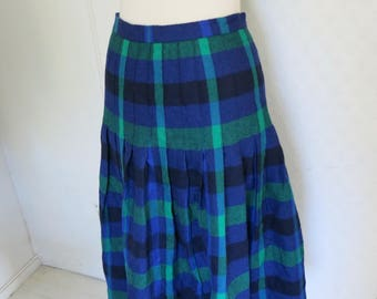 Checked Plaid Tartan wool skirt Green Blue Black