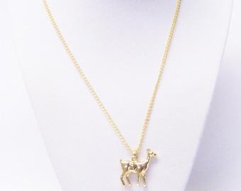 Gold Deer Pendant Necklace
