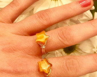 Orange Aventurine Ring Crystal Healing Star Ring Wirewrapped Jewelry