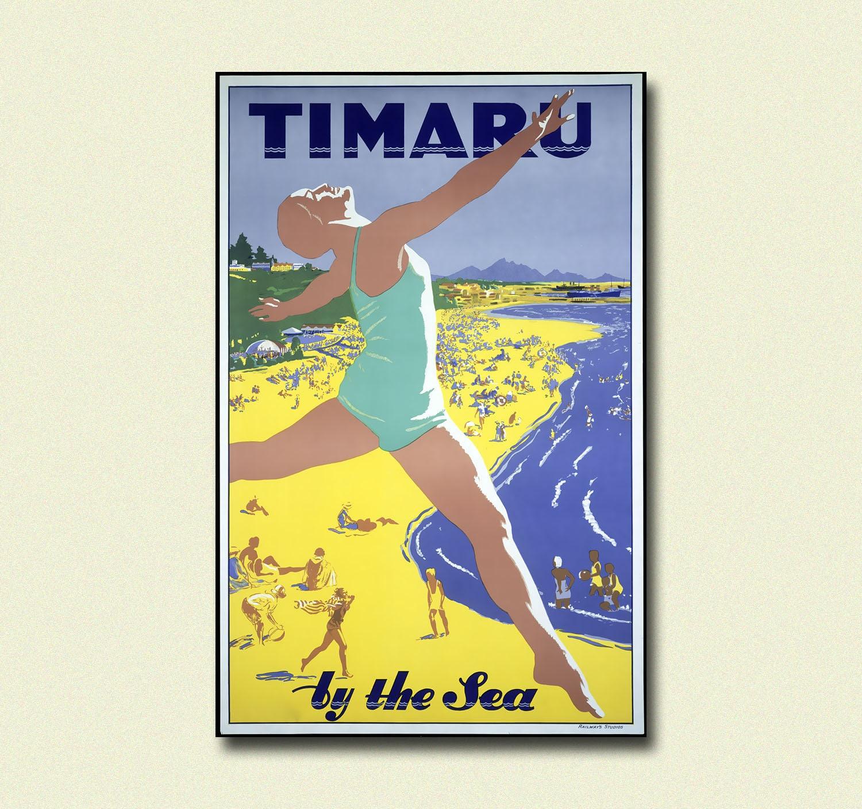 New Zealand Travel Print Timaru Poster Vintage Travel Wall