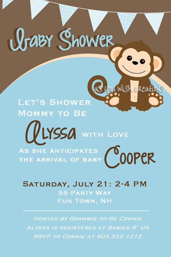 Monkey Baby Shower Invitation Boy Invitation Monkey Shower