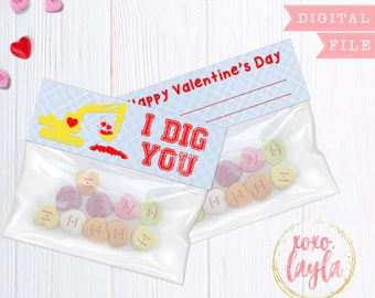 Valentine's Day treat bag topper - printable valentine treat - personalized digital pdf - I Dig You
