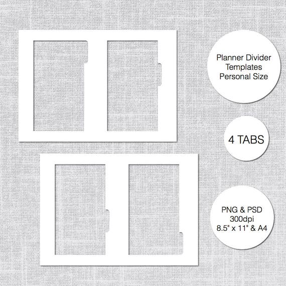 personal planner divider template 4 tabs psd png instant download from lfhdigital on etsy studio