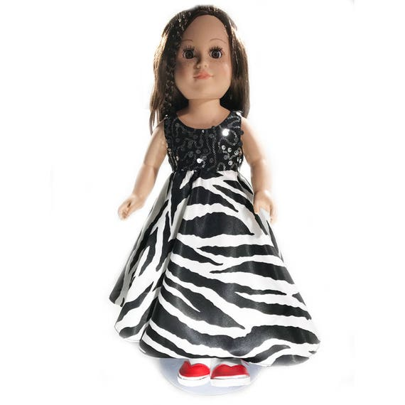 "Long Party Dress with Sequins and Zebra Print for American Girl and Other 18"" Dolls"