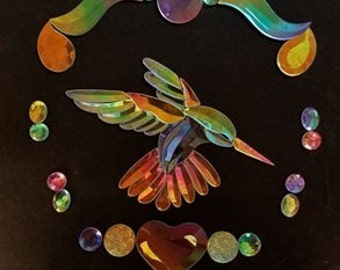 Custom Shop:  bevels and jewels and GST-9 Dichroic Stained Glass Hummingbird Bevel Cluster
