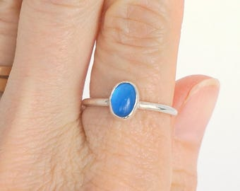Blue Agate Ring | Silver Thumb Ring | Stacking Ring Silver | Fine Silver Ring | Bezel Set Blue Agate Ring | Fine Silver Stacking Ring