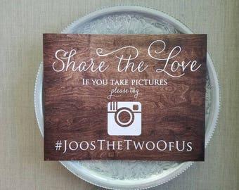 personalized Instagram wedding sign, custom wedding hashtag sign, if you instagram help us capture the love, wedding reception decor, social