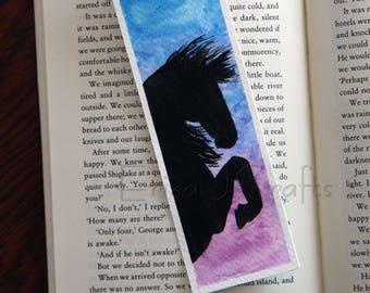 ORIGINAL watercolor bookmark, horse bookmark, horse silhouette