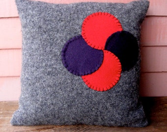 Wool On Wool Throw Pillow in Gray/Grey, Red and Purple Penny Rug Variation