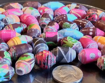 Hand Rolled Chunky Paper Beads. Multi Colored mixed lot. Barrel/Bicone Style's 12 pcs. + 2 bonus beads e-777
