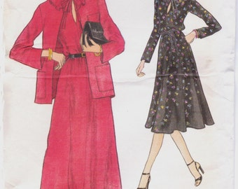 80s Womens Ruffled Flared Dress and Jacket Vogue Sewing Pattern 9961 Size 12 Bust 34 UnCut Pullover Dress Pattern Very Easy Vogue