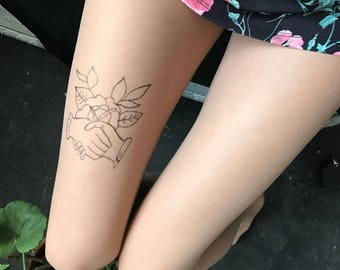 hand painted tattoo tights