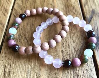 Fertility & Pregnancy bracelets with either rose quartz or rosewood. TTC bracelet, fertility jewelry.
