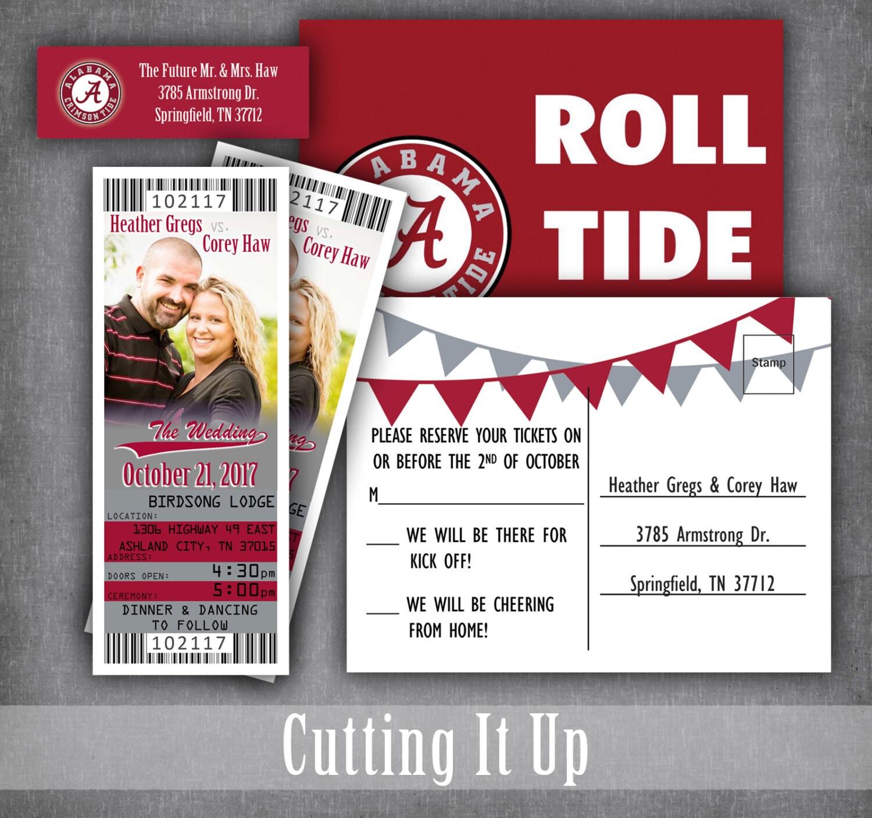 Alabama football wedding ticket invitations sports theme zoom monicamarmolfo Choice Image