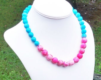 Hot Pink Necklace Pink Gemstone Necklace Hot Pink Turquoise Necklace Pink and Blue Necklace Hot Pink Tribal Necklace Color Block Necklace